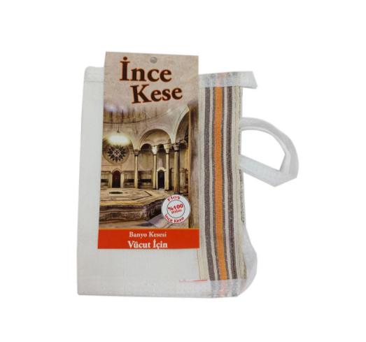 Кесе для тела мягкая белая INCE (полиэстер 35% / целлюлоза 65%) для хаммама - турецкой бани