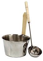 Набір шайка 4 л і черпак 40 см з нержавійки для лазні та сауни