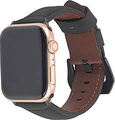Ремешок из кожи Promate Stitch-42ML для Apple Watch 40-42 мм Black