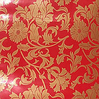 Самоклейка, красная, цветы, золотой рисунок, HONGDA, 45 cm, фото 1