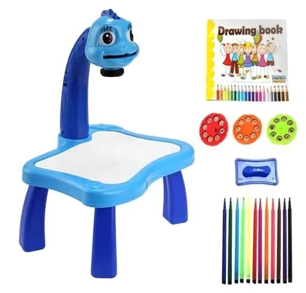 Детский стол проектор для рисования с подсветкой  Стол детский мольберт Baby для рисования СИНИЙ