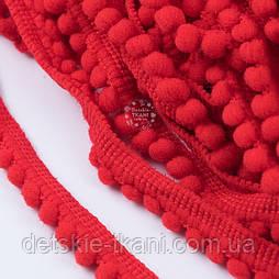 Тесьма с бархатными мини-помпонами 5 мм красного цвета