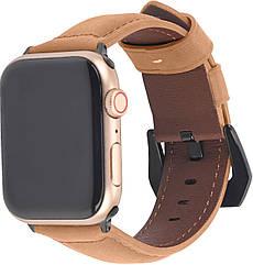 Ремешок из кожи Promate Stitch-42ML для Apple Watch 40-42 мм Light Brown