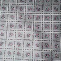 Клеенка на стол ПВХ на нетканной основе Орнамент цветы серый 1,37 х 1м