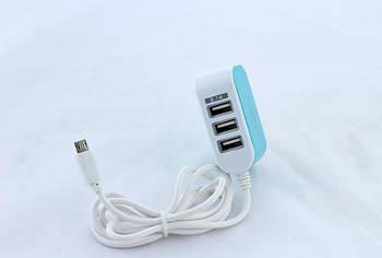 Зарядное устройство адаптер Спартак на 3 USB microUSB 8600 v8