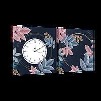 Годинник модульна картина Листя 29*60 см
