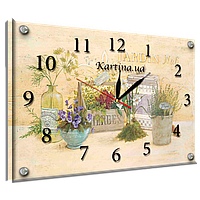 Годинник-картина під склом польові квіти у вазі 30*40