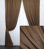 """Комплект (2шт. 1.5х2.75м.) штор из жаккардовой ткани, коллекция """"Ибица"""". Цвет коричневый. Код 698ш 30-476, фото 1"""