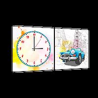 Годинник модульна картина Синя машина 29*60 см