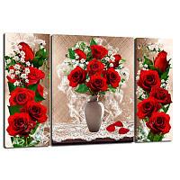 Триптих, картина, 50x80 см, 3 частини, червоні троянди, троянди у вазі