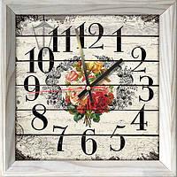 Годинник-картина, розмір 28 х 28 см, дерев'яна рамка, без скла, постарене дерево, квіти, білий