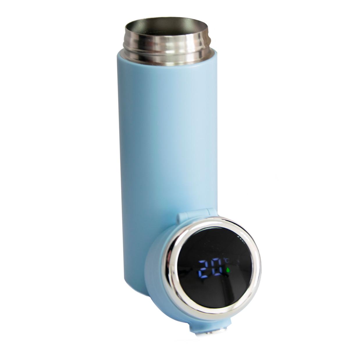 """Термочашка """"Vacuum cup"""" Блакитна на 420 мл, термокружка з індикатором температури для кави, термос для чаю"""