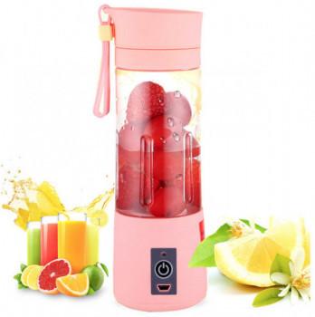 Портативный фитнес блендер USB Smart Juice Cup Fruits 6 ножей rose