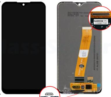 Дисплей (экран) для Samsung A015M Galaxy A01 с сенсором (тачскрином) черный с широким разъемом