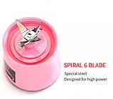 Портативный фитнес блендер USB Smart Juice Cup Fruits 6 ножей rose, фото 5