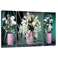 Триптих, картина, 50x80 см, 3 частини, красиві квіти у вазі