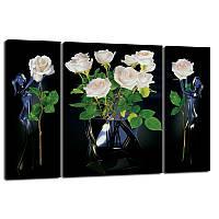 Триптих, картина, 50x80 см, 3 частини, квіти у вазі, троянди