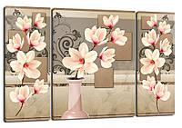 Триптих, картина, 50x80 см, кртина, 3 частини квіти