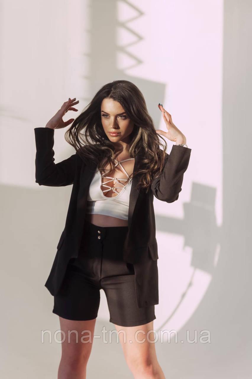 Женский деловой костюм с пиджаком и шортами