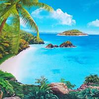 Фотообои, пляж, пальмы, остров, Мальдивы размер 196смХ350м, 20 листов