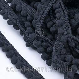 Тесьма с бархатными мини-помпонами 5 мм чёрного цвета
