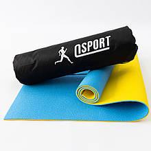 Коврик для йоги, фитнеса и спорта (каремат спортивный) OSPORT Спорт 8мм + чехол (n-0008) Сине-желтый