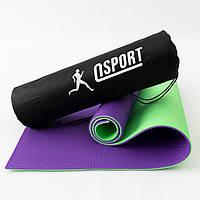 Коврик для йоги, фитнеса и спорта (каремат спортивный) OSPORT Спорт 8мм + чехол (n-0008) Салатово-фиолетовый