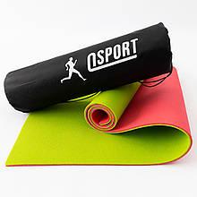 Коврик для йоги, фитнеса и спорта (каремат спортивный) OSPORT Спорт 8мм + чехол (n-0008) Розово-салатовый