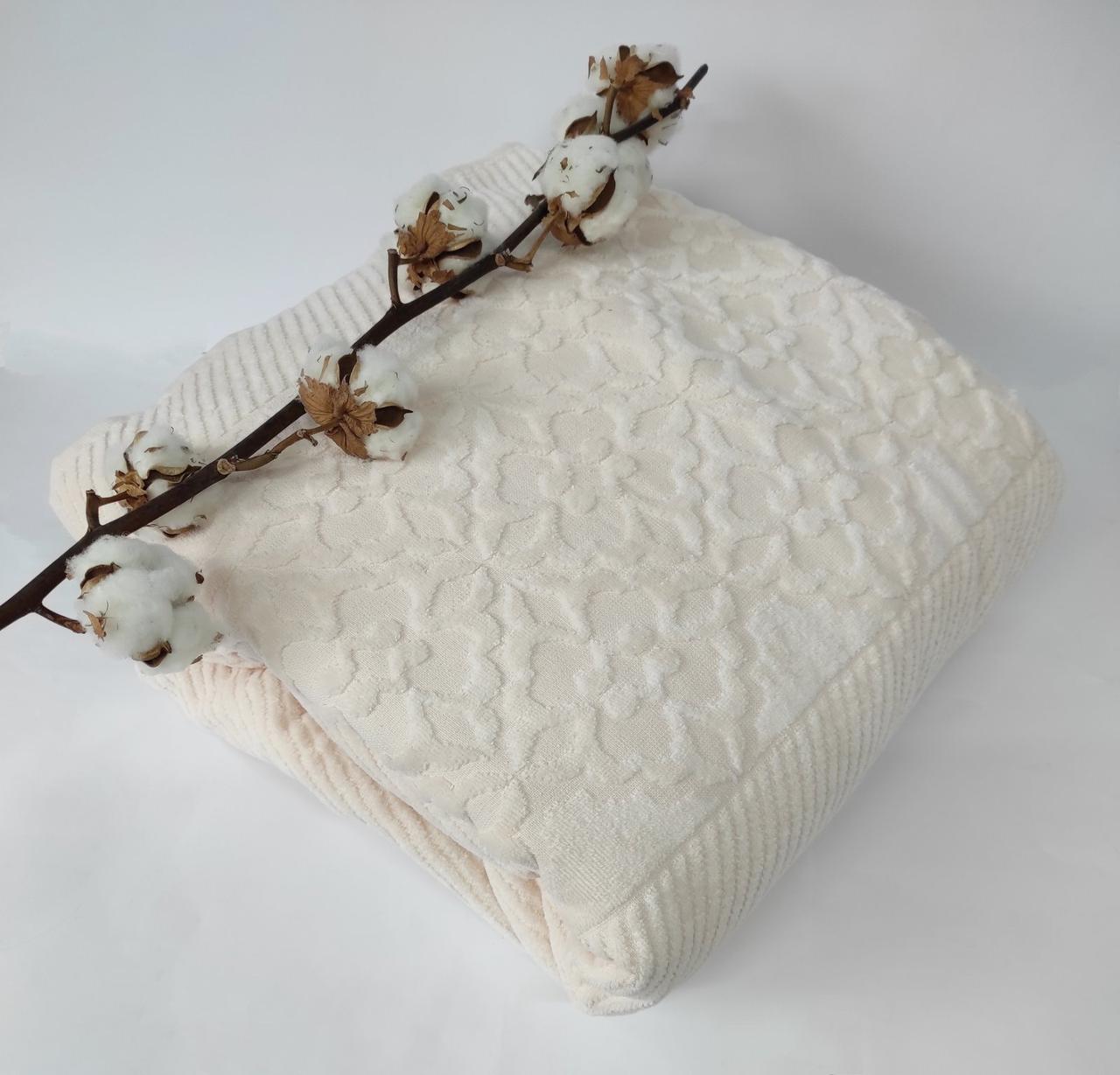 Махровая Простынь Евро АЕ Cotton 220Х240 см кремовая