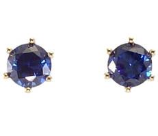 """Сережки XP Позолота 18К гвоздики (пусети) """"Сині кристали в 6-ти крапановой оправі"""" ø 7мм"""