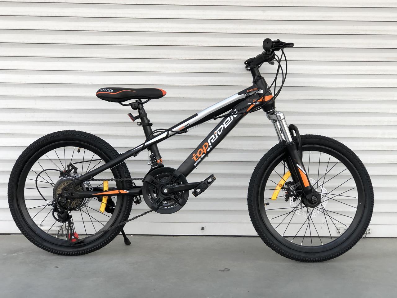 "Спортивний велосипед TopRider 611 колеса 20д / Shimano / рама сталева 13"" / чорно-помаранчевий"
