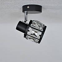 Люстра 1 лампа поворотний плафон вставка під хрусталь чорний Е14