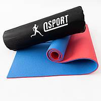 Коврик для йоги, фитнеса и спорта (каремат спортивный) OSPORT Спорт 8мм + чехол (n-0008) Красно-синий