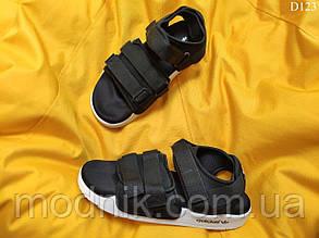 Чоловічі літні сандалі Adidas (чорно-білі) D123 крута легка м'яка взуття
