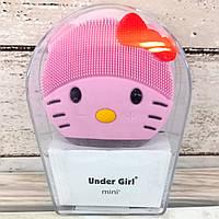 Массажер щетка для очищения лица для умывания Електрическая силиконовая Under Girl mini2 Живые фото
