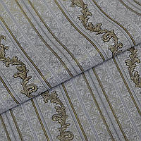 Обои для стен шпалери полоса сірі листок винил на флизелине 1,06*10м