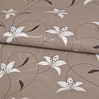 Обои для стен шпалери коричневі квіти винил на флизелине 1,06x10м.