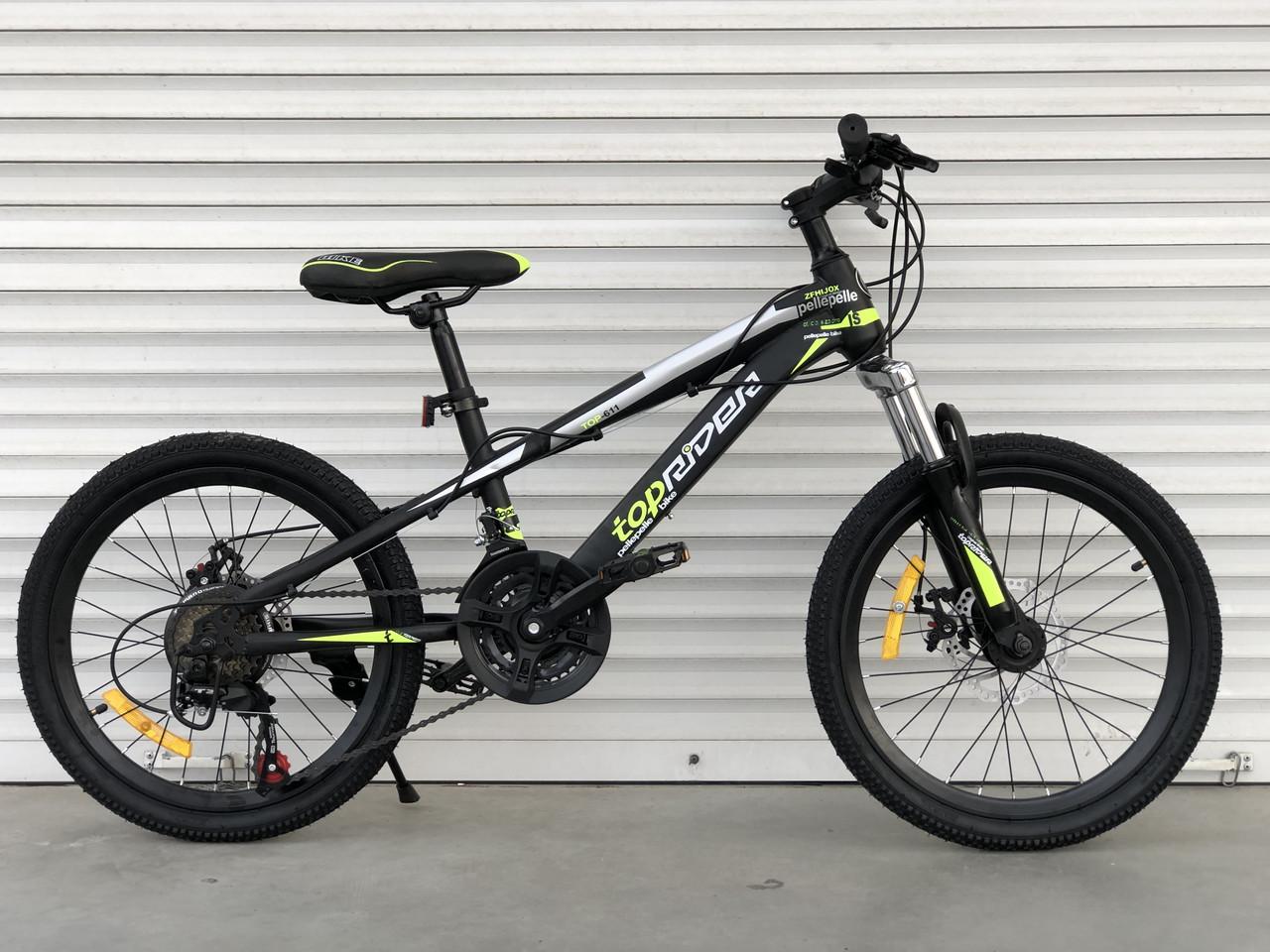"""Спортивный велосипед TopRider 611 колёса 20д / Shimano / рама стальная 13"""" / черно-салатовый"""