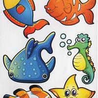 Наклейка, рыбы, подводный мир, декупаж, интерьерная Декор №22