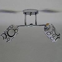 Люстра серебро белые матовые черные круги плафоны 2 лампы