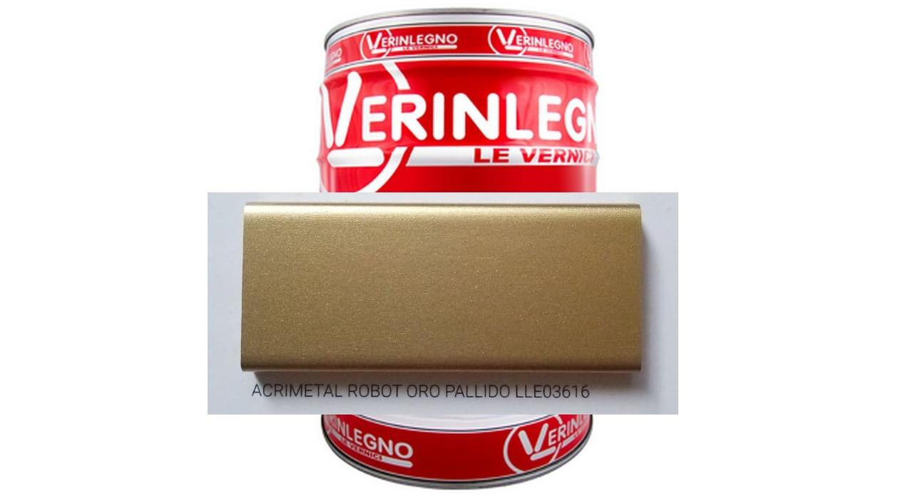Металічний ефект 2K Акриловий VERINLEGNO (колір ACRIMETAL ROBOT ORO PALLIDO LLE03616),тара 1л