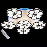 Люстра  светодиодная хай-тек 8063/5+1WHLED dimmer белая цветы