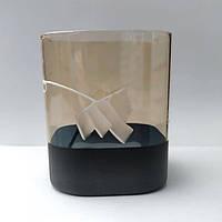 Плафон для люстри діаметр верхнього отвору 4.4 см висота 12.5 см бежево-чорний