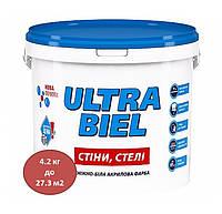 Краска акриловая снежно-белая для стен и потолков ULTRA BIEL 4,2 кг
