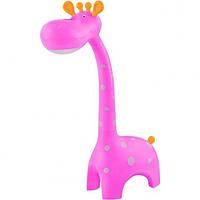 Лампа настольная светодиодная + ночник жираф розовый
