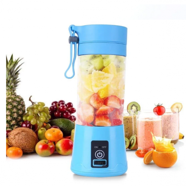 Портативный фитнес блендер USB Smart Juice Cup Fruits 6 ножей blue