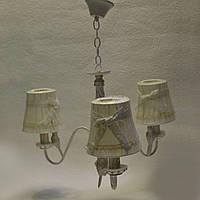 Люстра біла підвісна текстильні плафони з бантиком 3 лампи