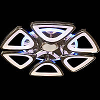 Люстра светодиодная с диммером и разноцветной подсветкой и MP3 серебро 3 color