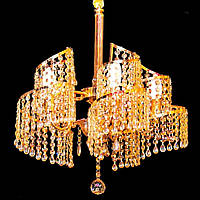 Люстра кришталева підвісна 5 ламп золото