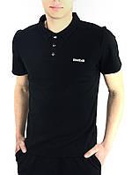 Мужская футболка поло Reebok модная спортивная с воротником, черная (реплика)